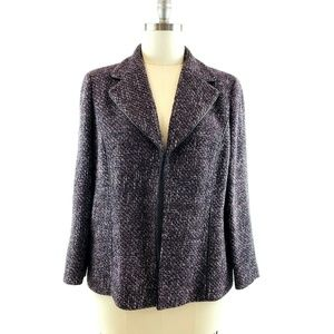 DANA BUCHMAN Purple Tweed Jacket w Leather Accents